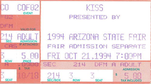 Ticket from Phoenix, AZ, USA 21 October 1994 show