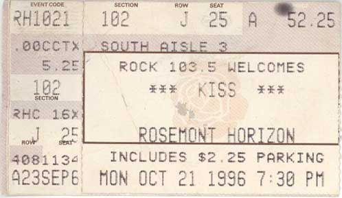 Ticket from Rosemont (Chicago), IL, USA 21 October 1996 show
