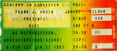 Ticket from Worcester, MA, USA 22 January 1983 show