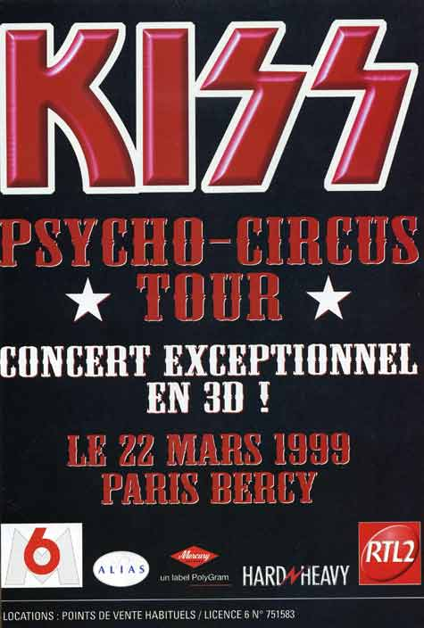 Poster from Paris, France 22 March 1999 show