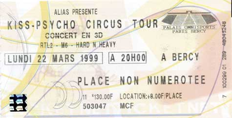Ticket from Paris, France 22 March 1999 show