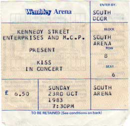 Ticket from London, England 23 October 1983 show
