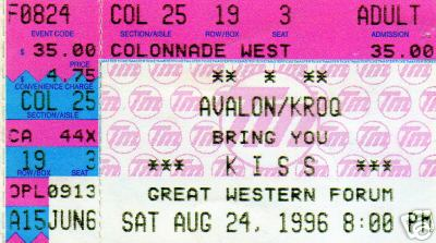 Ticket from Los Angeles, CA, USA 24 August 1996 show