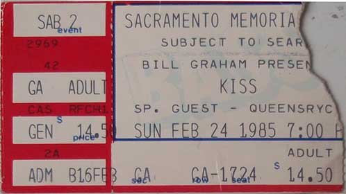 Ticket from Sacremento, CA, USA 24 February 1985 show