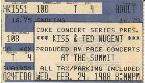 Ticket from Houston, TX, USA 24 February 1988 show