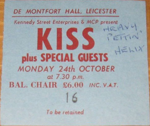 Ticket from Leicester, England 24 October 1983 show