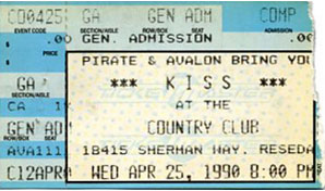 Ticket from 25 April 1990 show Los Angeles, CA, USA