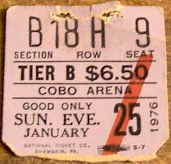 Ticket from Detroit, 25 January 1976 show
