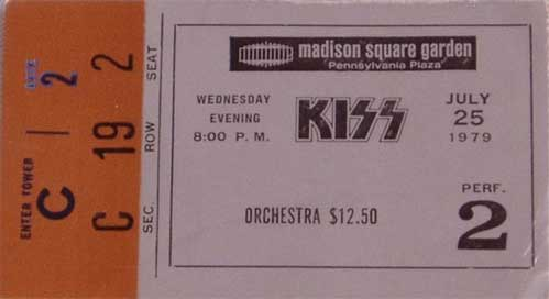Ticket from New York 25 July 1979 show