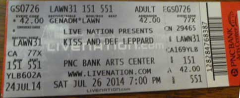 Ticket from Holmdel, NJ, USA 26 July 2014 show