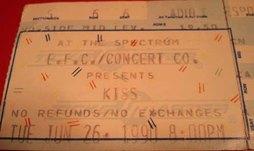 Ticket from Philadelphia, PA, USA 26 June 1990 show