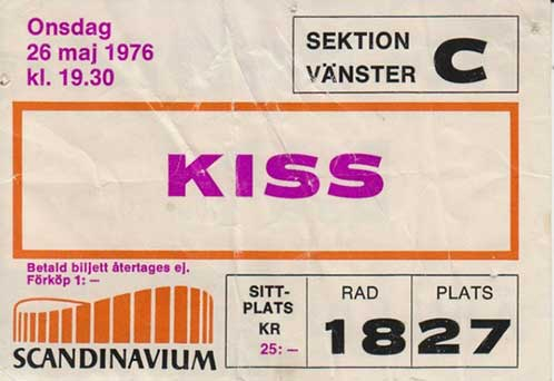 Ticket from 26 May 1976 show Gothenburg, Sweden