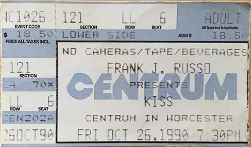Ticket from Worcester, MA, USA 26 October 1990 show