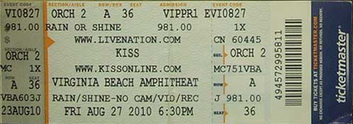 Ticket from Virginia Beach, VA, USA 27 August 2010 show