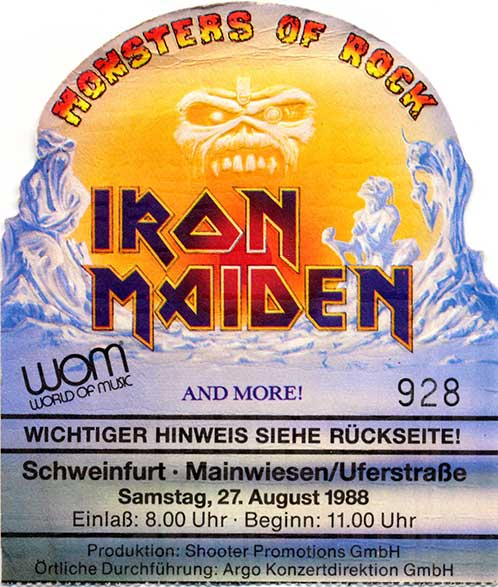Ticket from Schweinfurt, West Germany 27 August 1988 show
