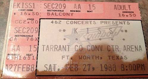 Ticket from Fort Worth, TX, USA 27 February 1988 show