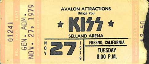 Ticket from 27 November 1979 show Fresno, CA, USA
