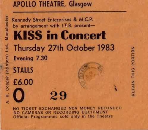 Ticket from Glasgow, Scotland 27 October 1983 show