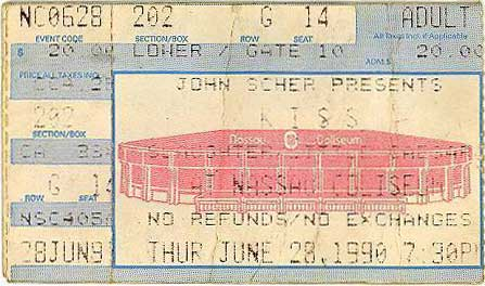 Ticket from Uniondale, NY, USA 28 June 1990 show