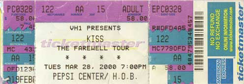 Ticket from Denver, CO, USA 28 March 2000 show
