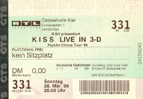 Ticket from Kiel, Germany 28 March 1999 show