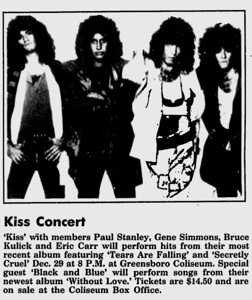 Advert from Greensboro, NC, USA 29 December 1985 show