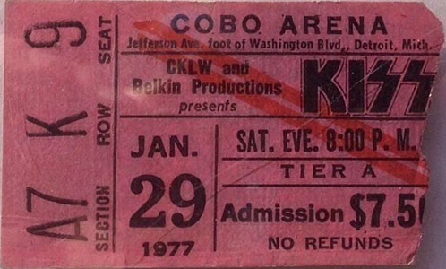 Ticket from Detroit, MI, USA 29 January 1977 show