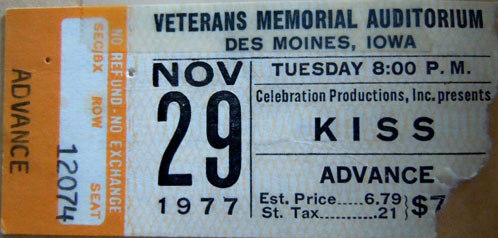 Ticket from Des Moines, IA, USA 29 November 1977 show