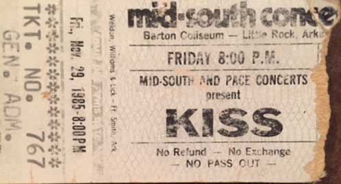 Ticket from Little Rock, AR, USA 29 November 1985 show