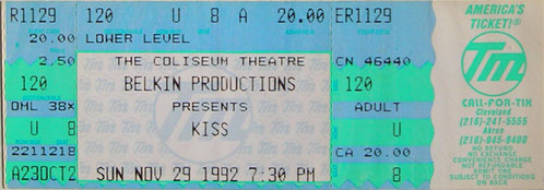 Ticket from 29 November 1992 show Cleveland, OH, USA