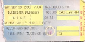 Ticket from East Troy, WI, USA 29 September 1990 show