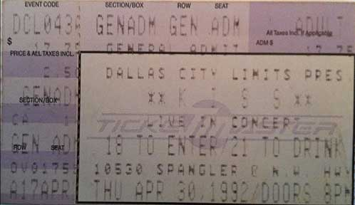 Ticket from Dallas, TX, USA 30 April 1992 show