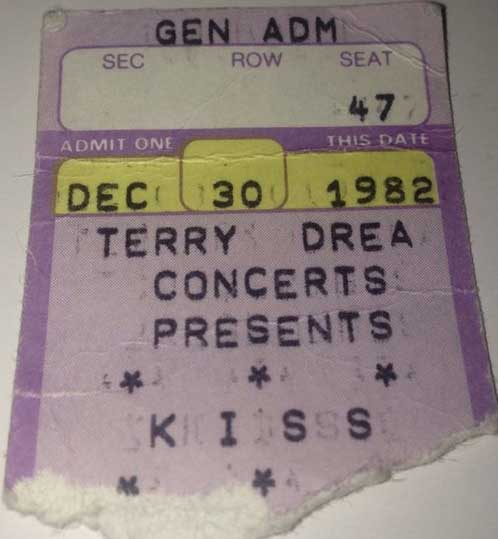 Ticket from Sioux City, IA, USA 30 December 1982 show