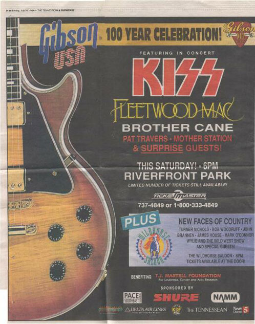 Advert from Nashville, TN, USA 30 July 1994 show