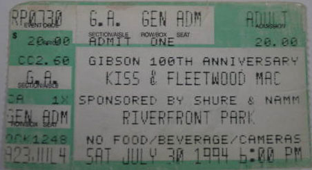 Ticket from Nashville, TN, USA 30 July 1994 show