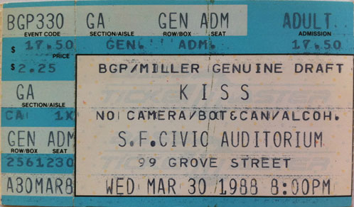 Ticket from San Francisco, CA, USA 30 March 1988 show