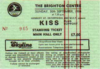 Ticket from Brighton, England 30 September 1984 show