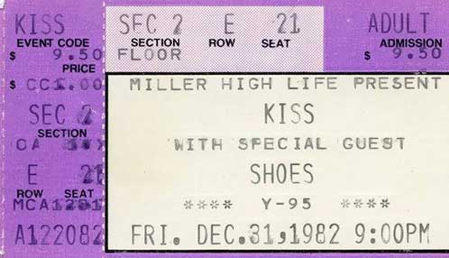 Ticket from Rockford, IL, USA 31 December 1982 show