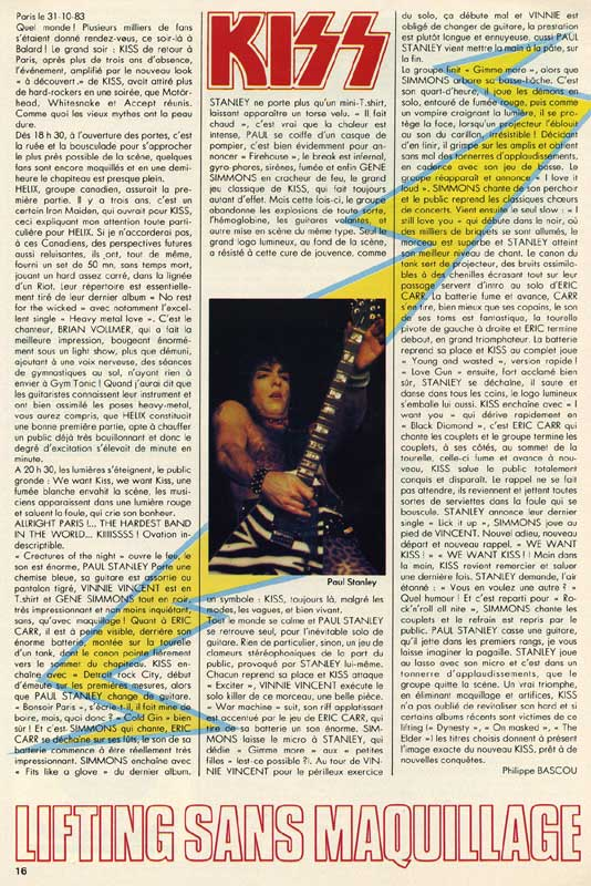Review from 31 October 1983 show Paris, France