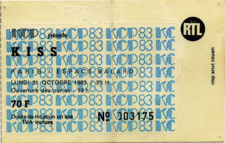 Ticket from Paris, France 31 October 1983 show