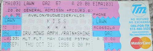 Ticket from Laguna Hills, CA, USA 31 October 1996 show