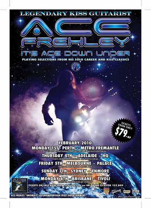 Poster from Ace Frehley Melbourne, Australia 05 February 2010 show