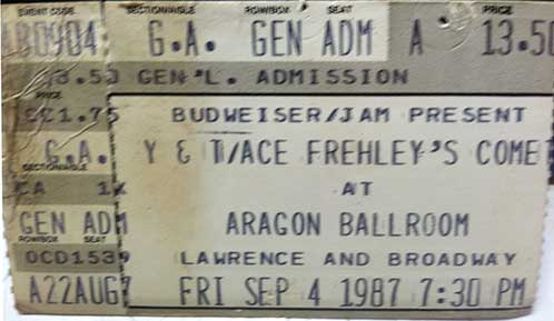 Ticket from Frehley's Comet Chicago, IL, USA 04 September 1987 show