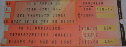 Ticket from Brooklyn, New York, NY, USA 08 March 1985 show