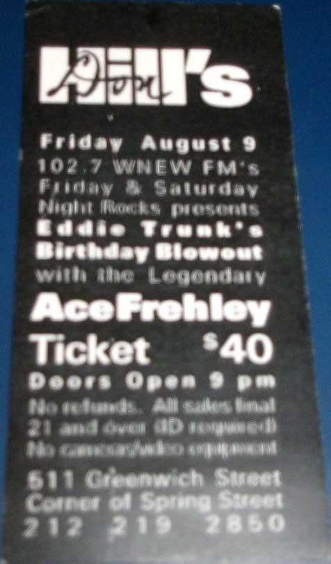 Ticket from Ace Frehley New York, NY, USA 09 August 2002 show