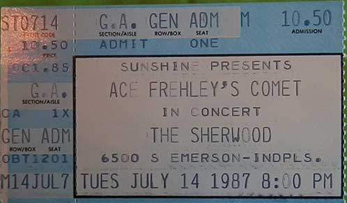 Ticket from Ace Frehley Indianapolis, IN, USA 14 July 1987 show