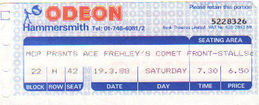 Ticket from Ace Frehley London, England 19 March 1988 show