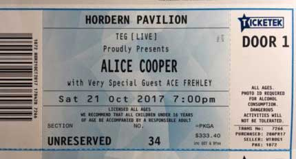 Ticket from Ace Frehley Sydney, Australia 21 October 2017 show