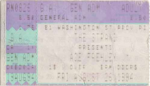Ticket from Ace Frehley Providence, RI, USA 26 August 1994 show