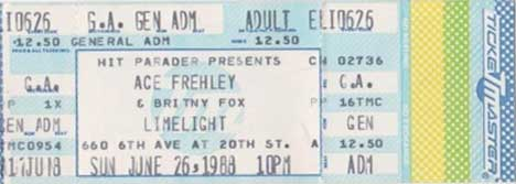 Ticket from Ace Frehley New York, NY, USA 26 June 1988 show